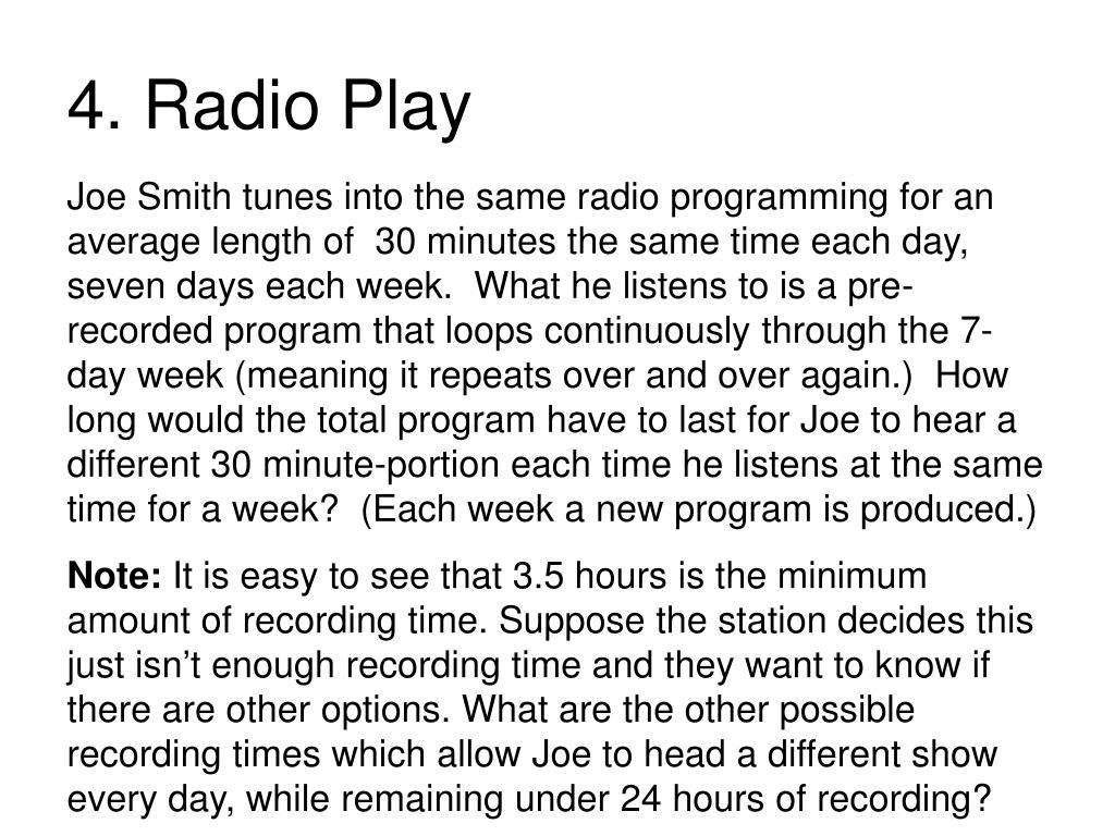 4. Radio Play