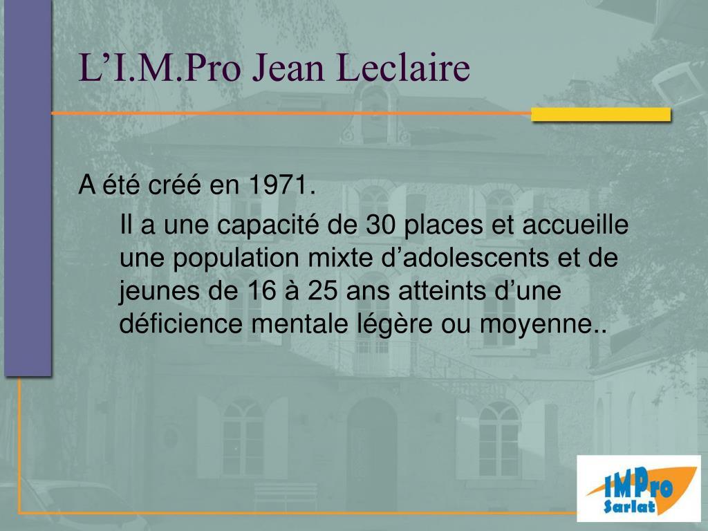 L'I.M.Pro Jean Leclaire