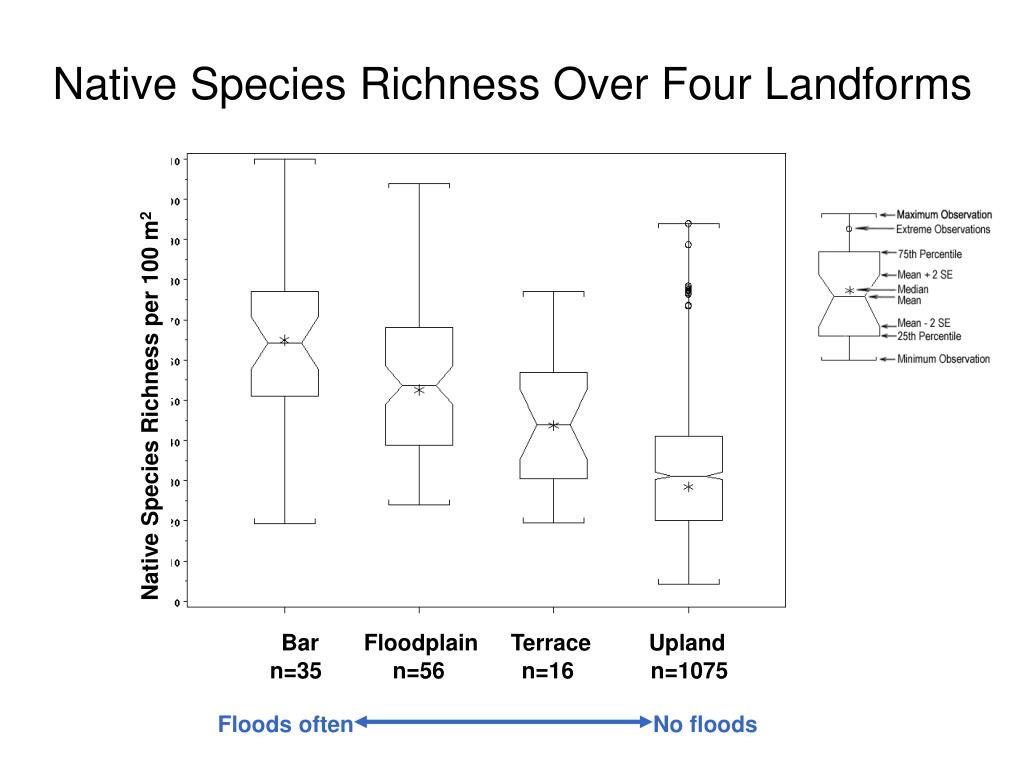 Native Species Richness Over Four Landforms
