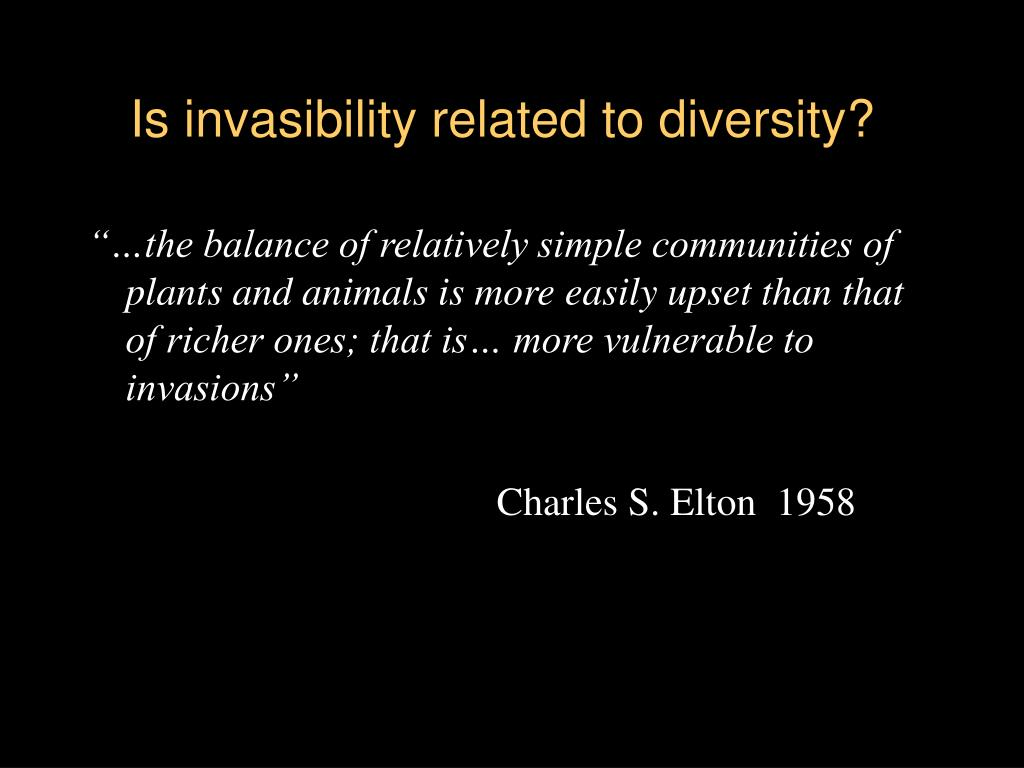 Is invasibility related to diversity?