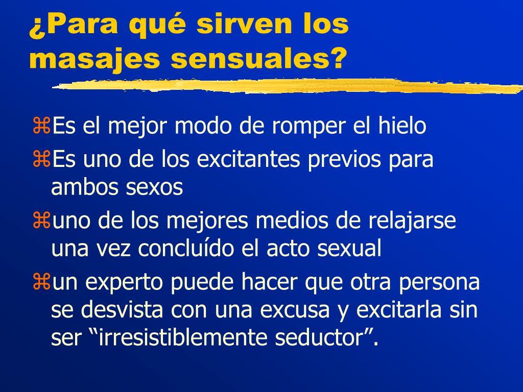¿Para qué sirven los masajes sensuales?