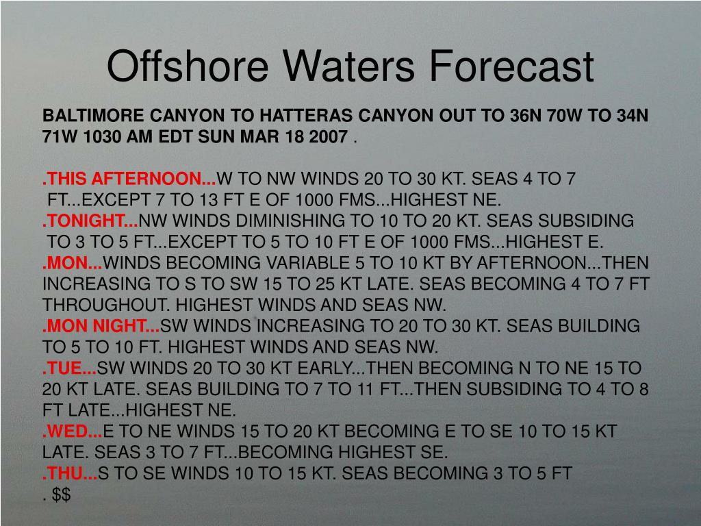 Offshore Waters Forecast