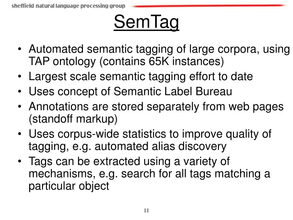 Automated semantic tagging of large corpora, using TAP ontology (contains 65K instances)