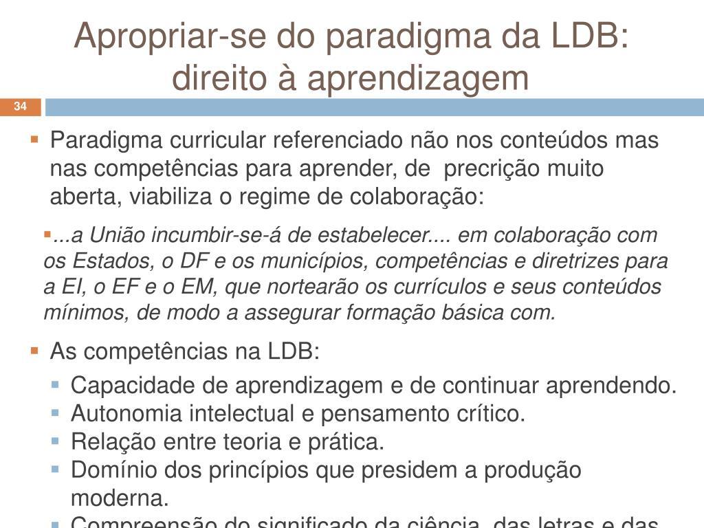 Apropriar-se do paradigma da LDB: