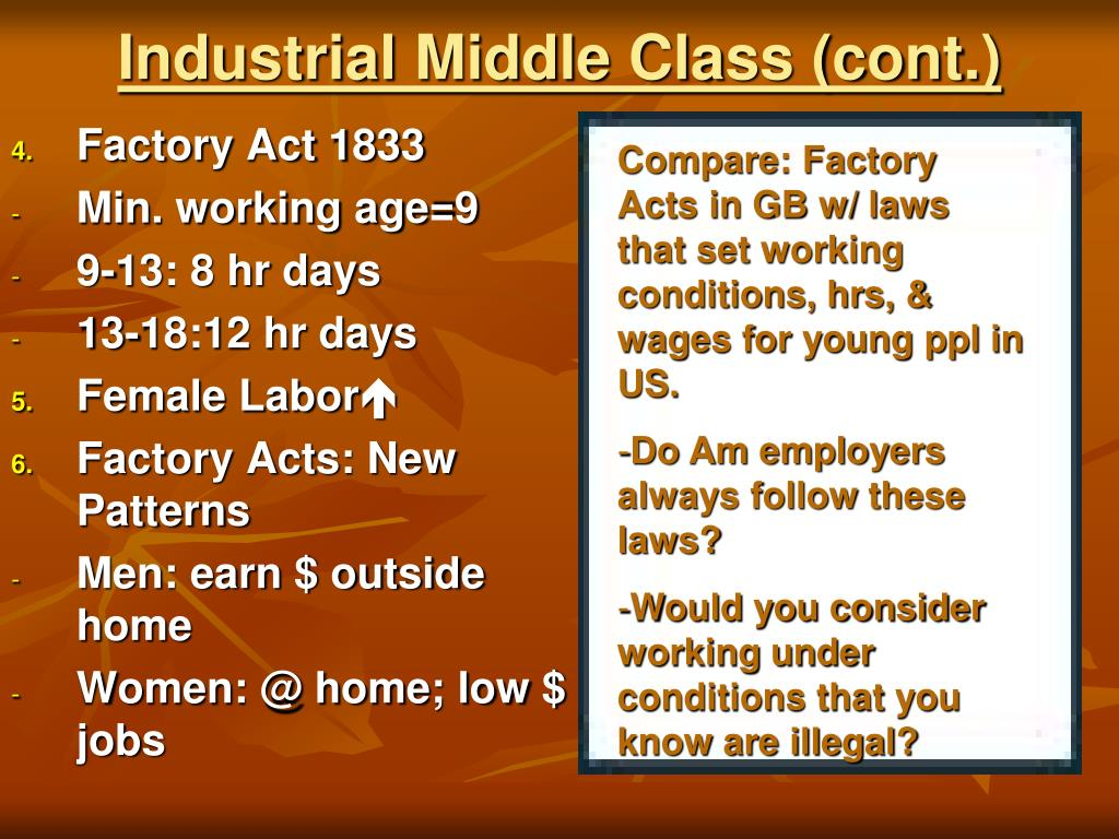 Industrial Middle Class (cont.)