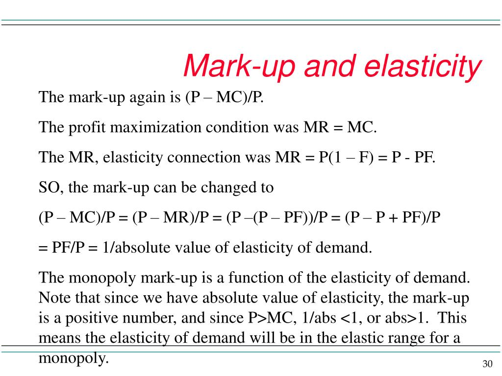Mark-up and elasticity