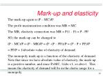 mark up and elasticity