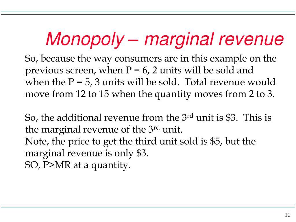 Monopoly – marginal revenue