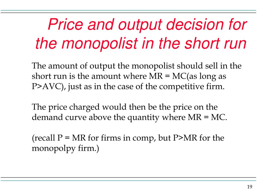 Price and output decision for the monopolist in the short run
