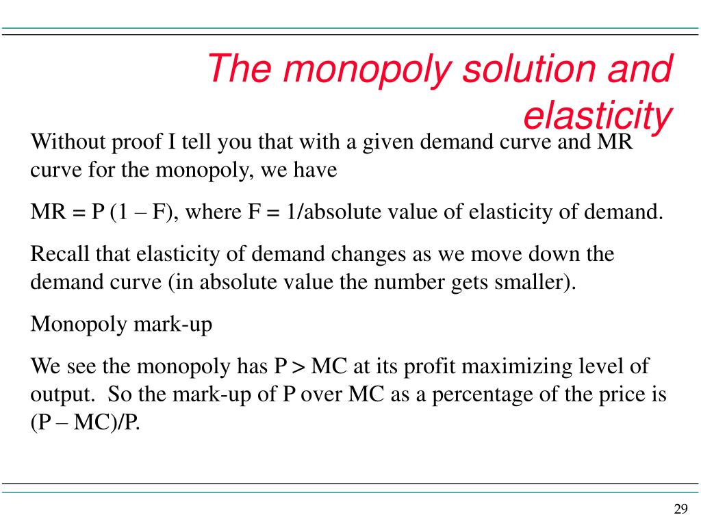 The monopoly solution and elasticity