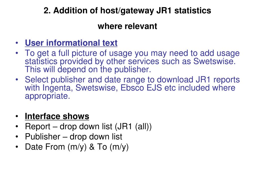 2. Addition of host/gateway JR1 statistics