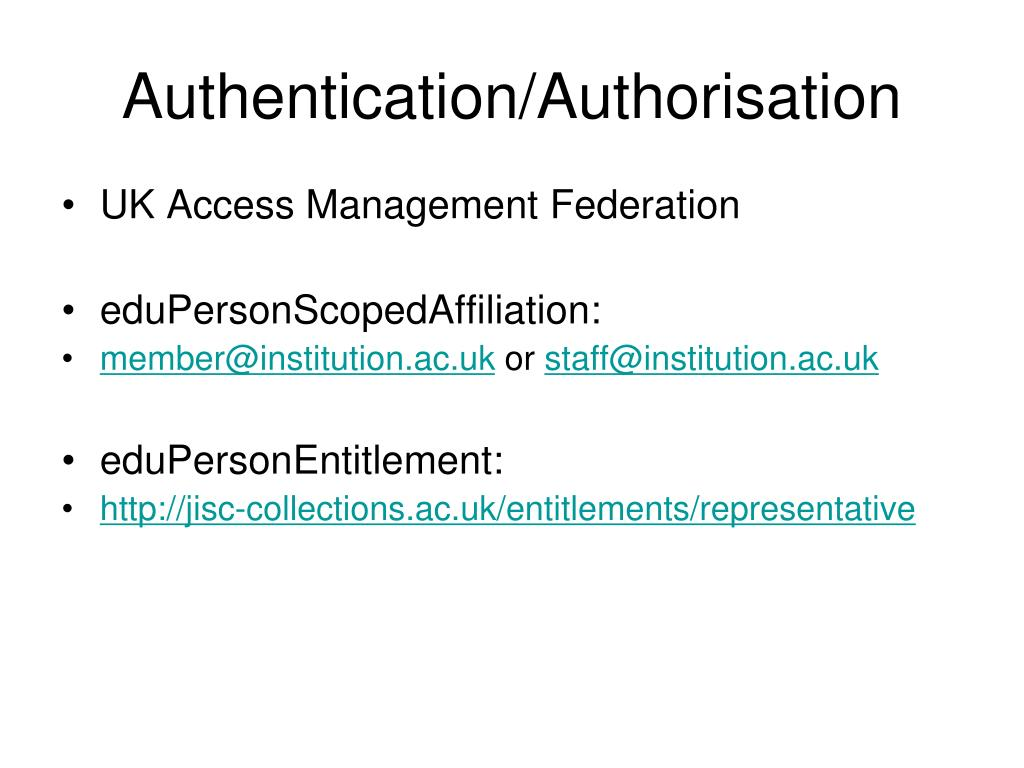 Authentication/Authorisation