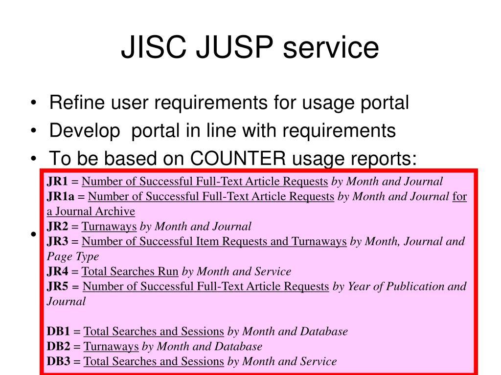 JISC JUSP service