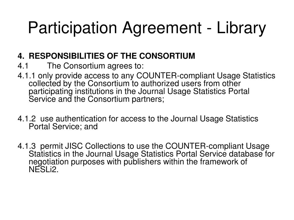 Participation Agreement - Library