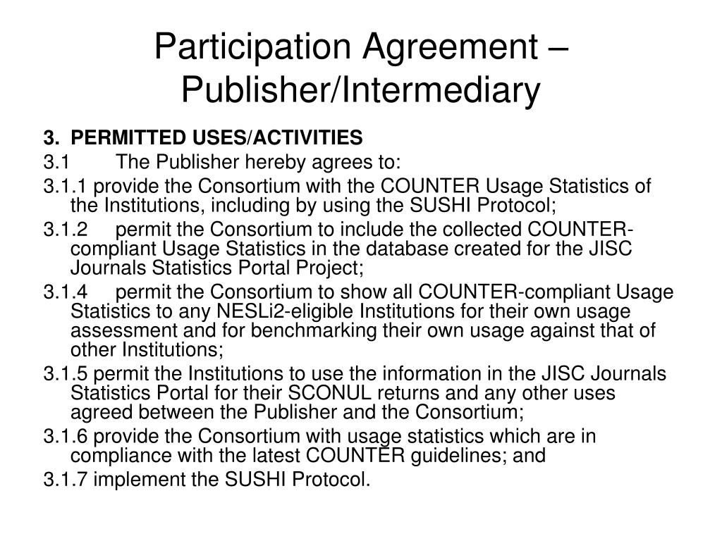 Participation Agreement – Publisher/Intermediary