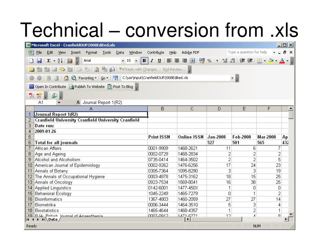 Technical – conversion from .xls
