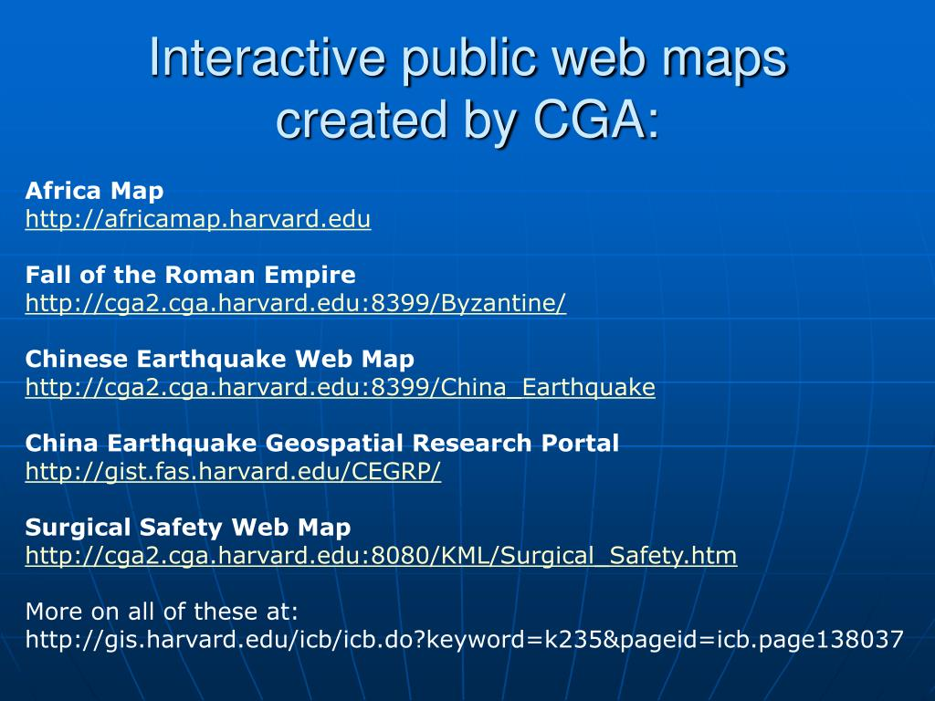 Interactive public web maps created by CGA: