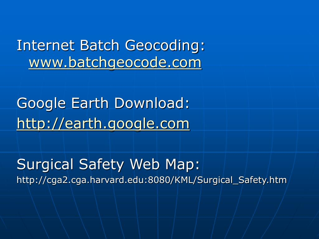 Internet Batch Geocoding: