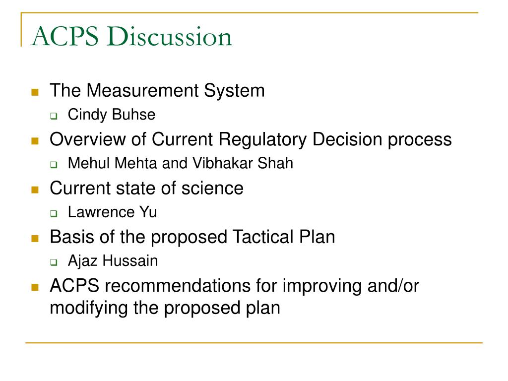 ACPS Discussion