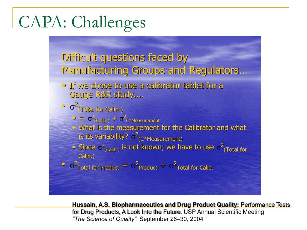 CAPA: Challenges