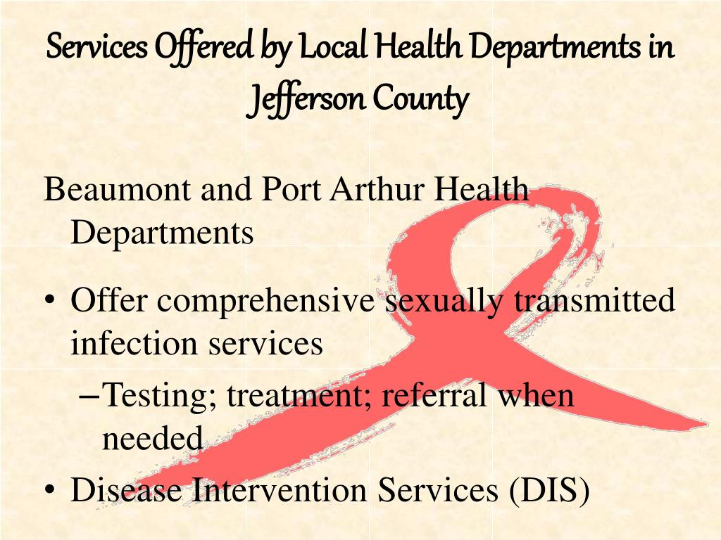 Services Offered by Local Health Departments in Jefferson County