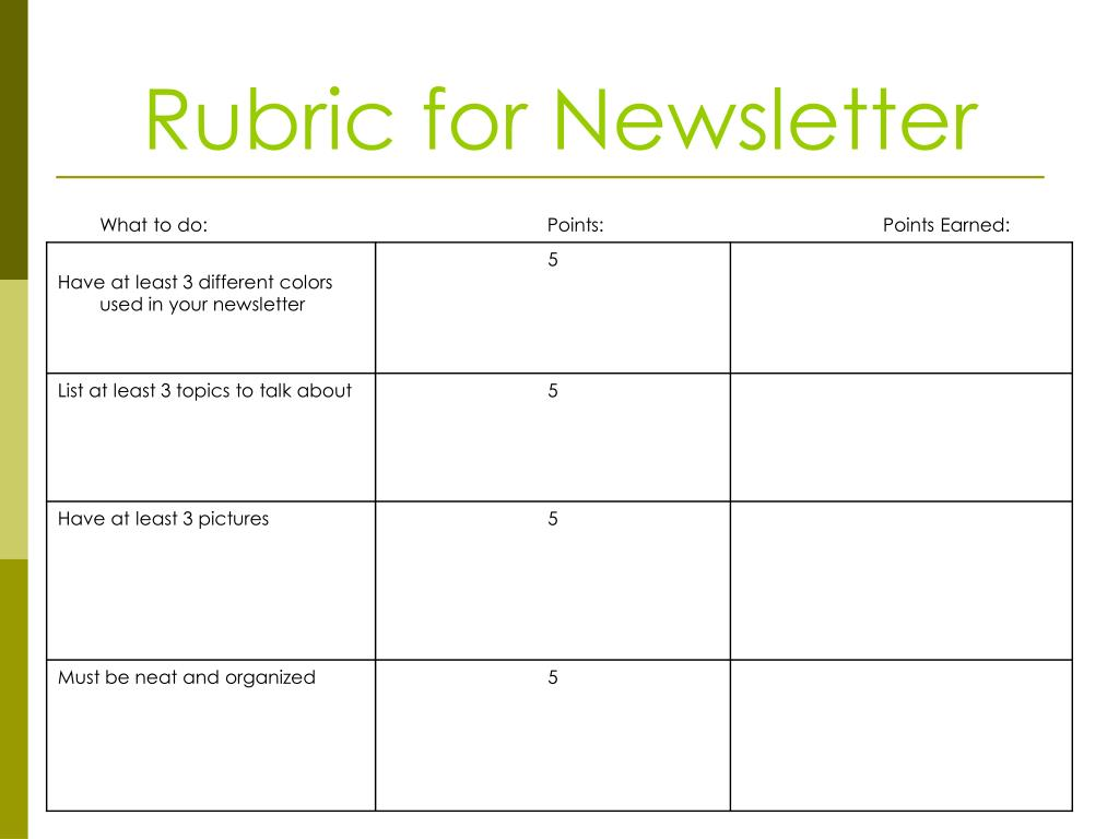 Rubric for Newsletter