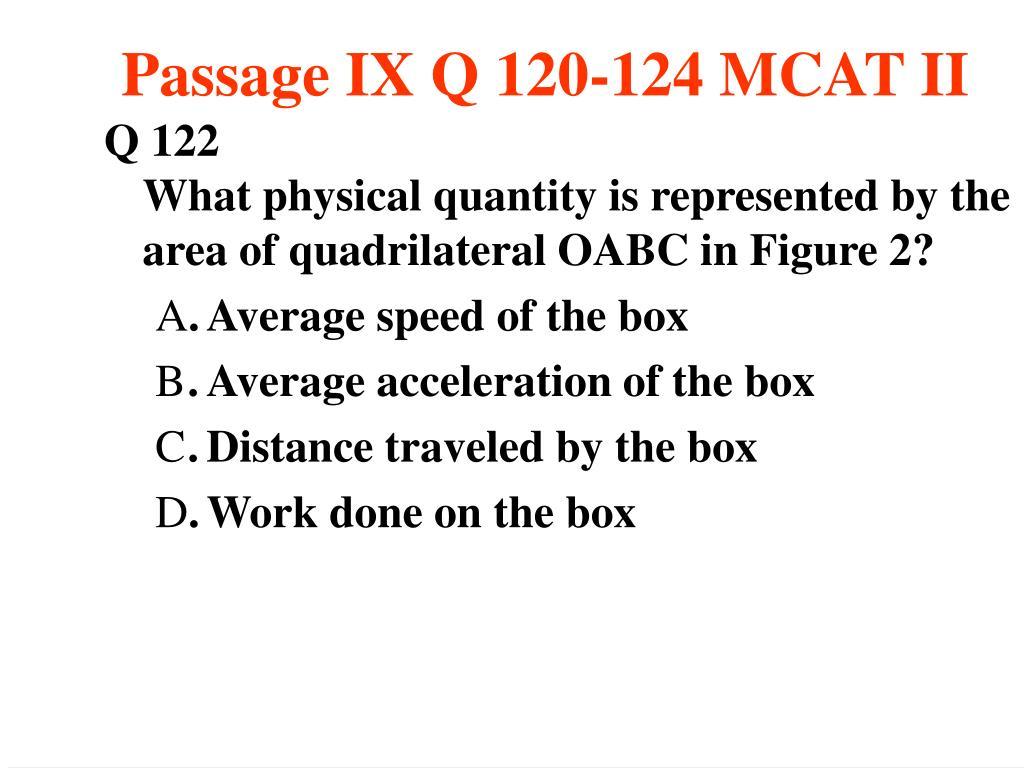 Passage IX Q 120-124 MCAT II