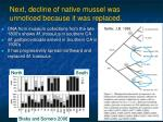next decline of native mussel was unnoticed because it was replaced