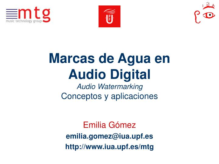 Marcas de agua en audio digital audio watermarking conceptos y aplicaciones