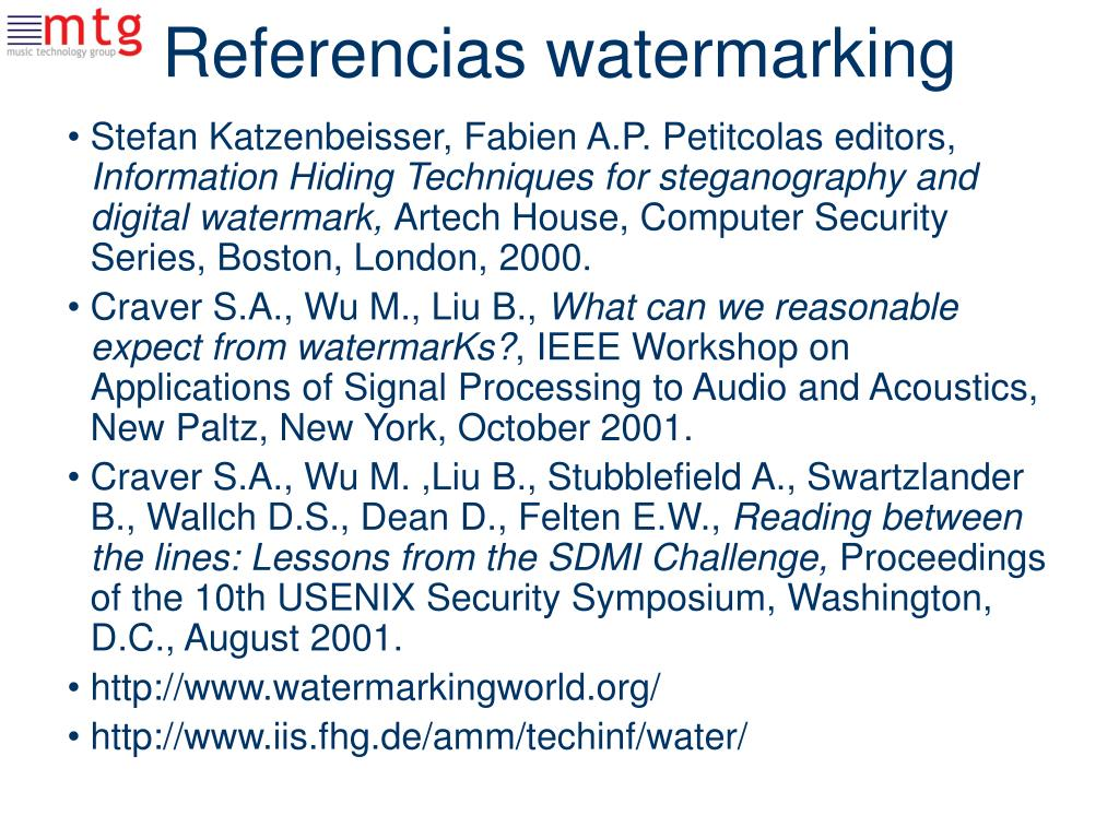 Referencias watermarking