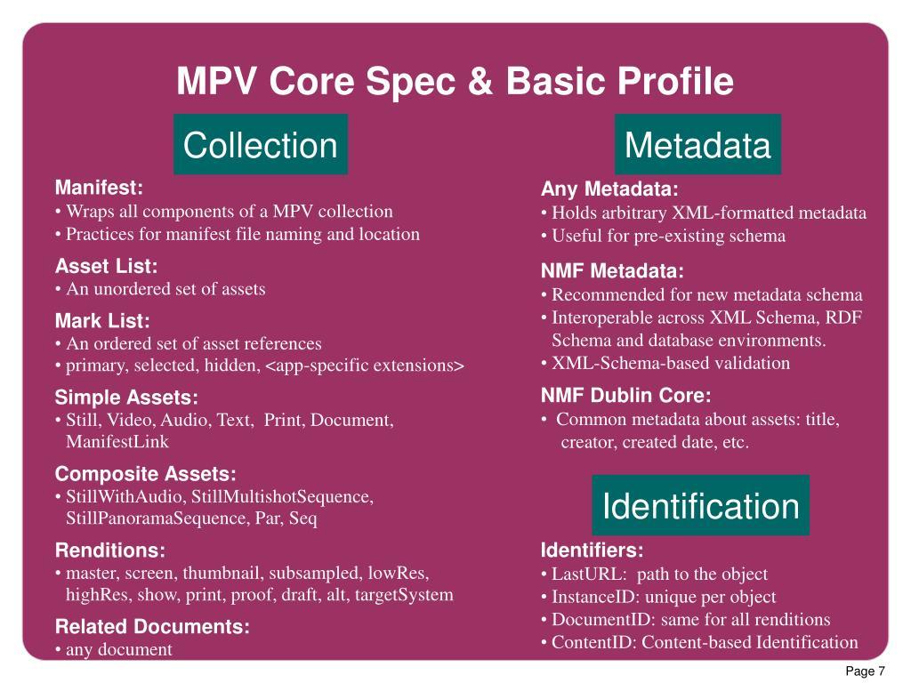 MPV Core Spec & Basic Profile