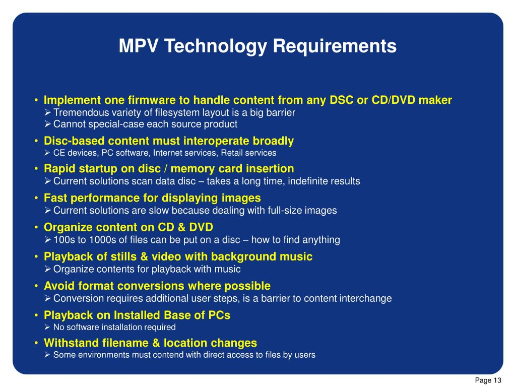 MPV Technology Requirements