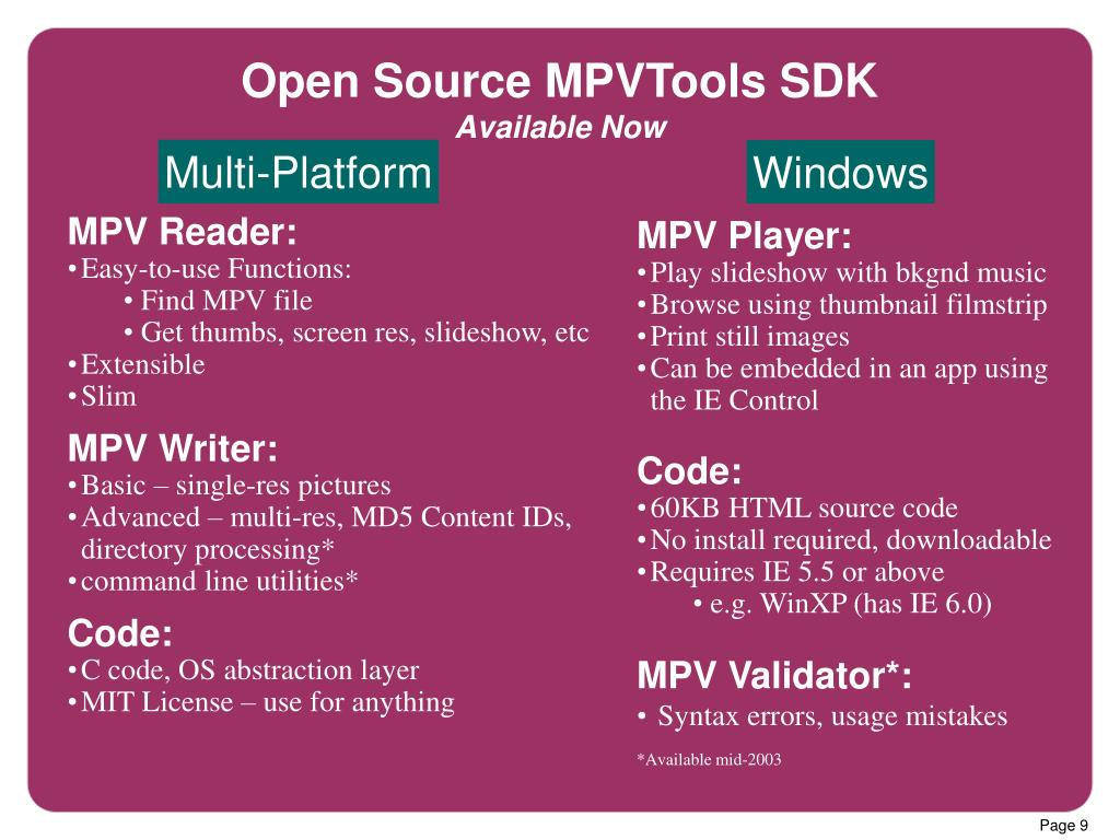 Open Source MPVTools SDK