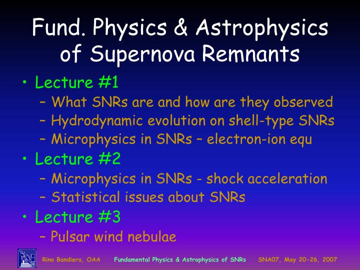 Fund physics astrophysics of supernova remnants