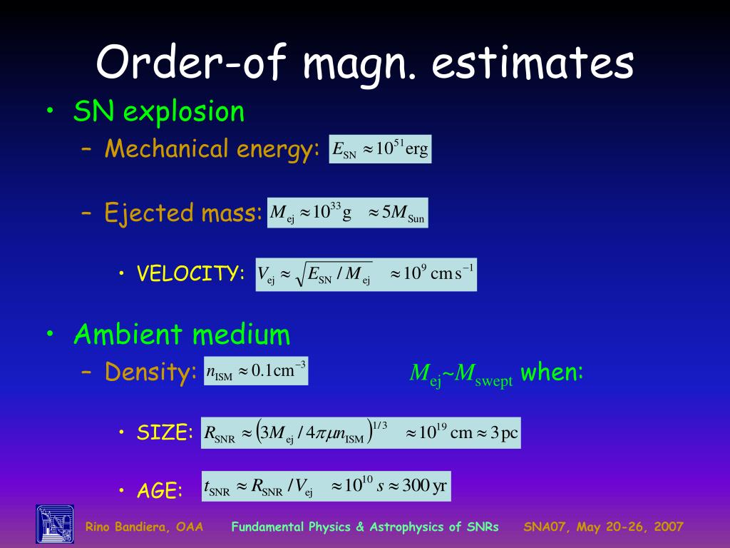 Order-of magn. estimates