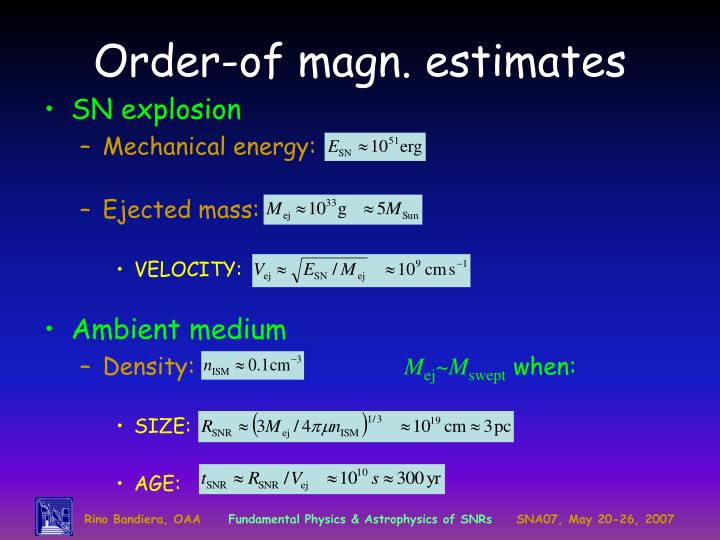 Order of magn estimates