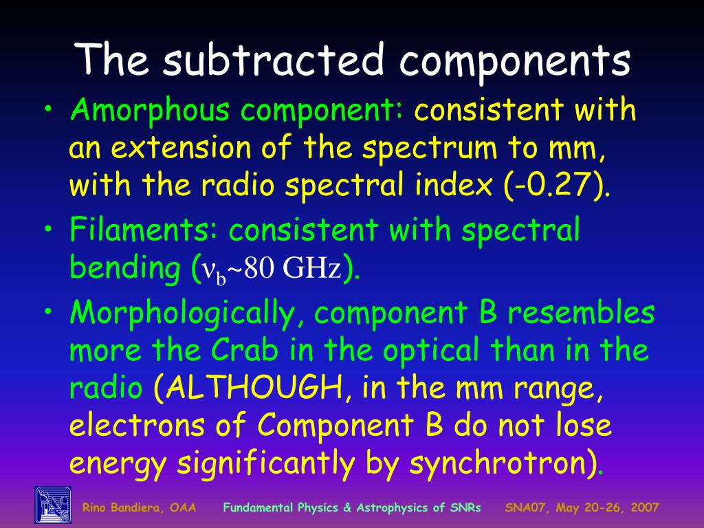 The subtracted components
