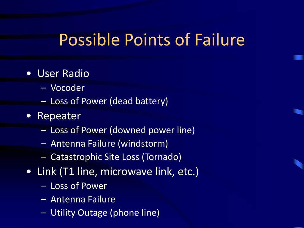 Possible Points of Failure