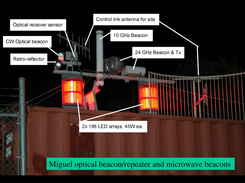 Miguel optical beacon/repeater and microwave beacons