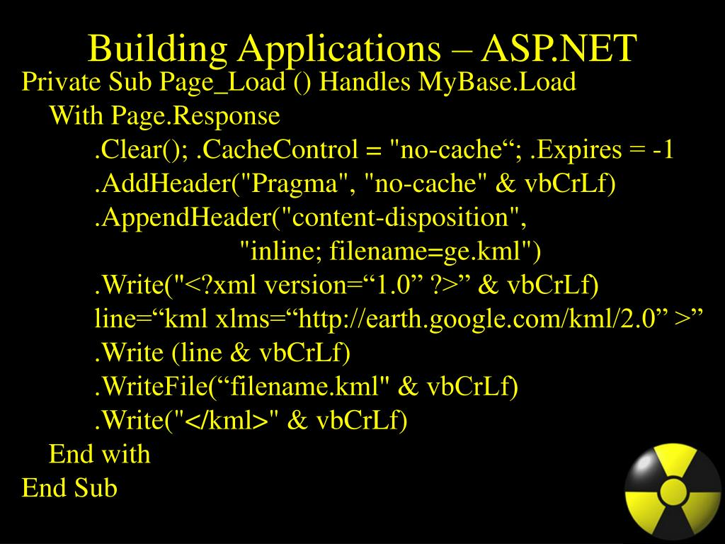 Building Applications – ASP.NET