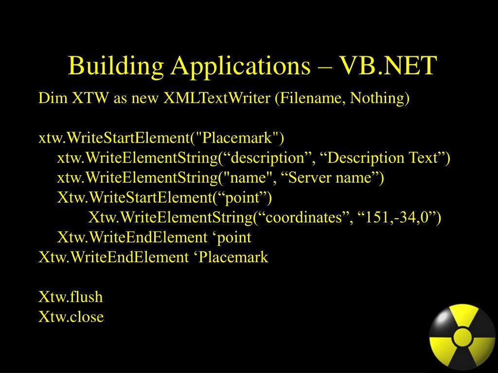 Building Applications – VB.NET