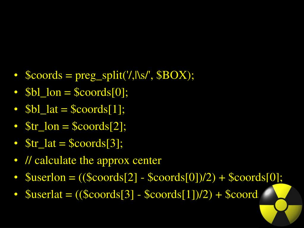 $coords = preg_split('/,|\s/', $BOX);
