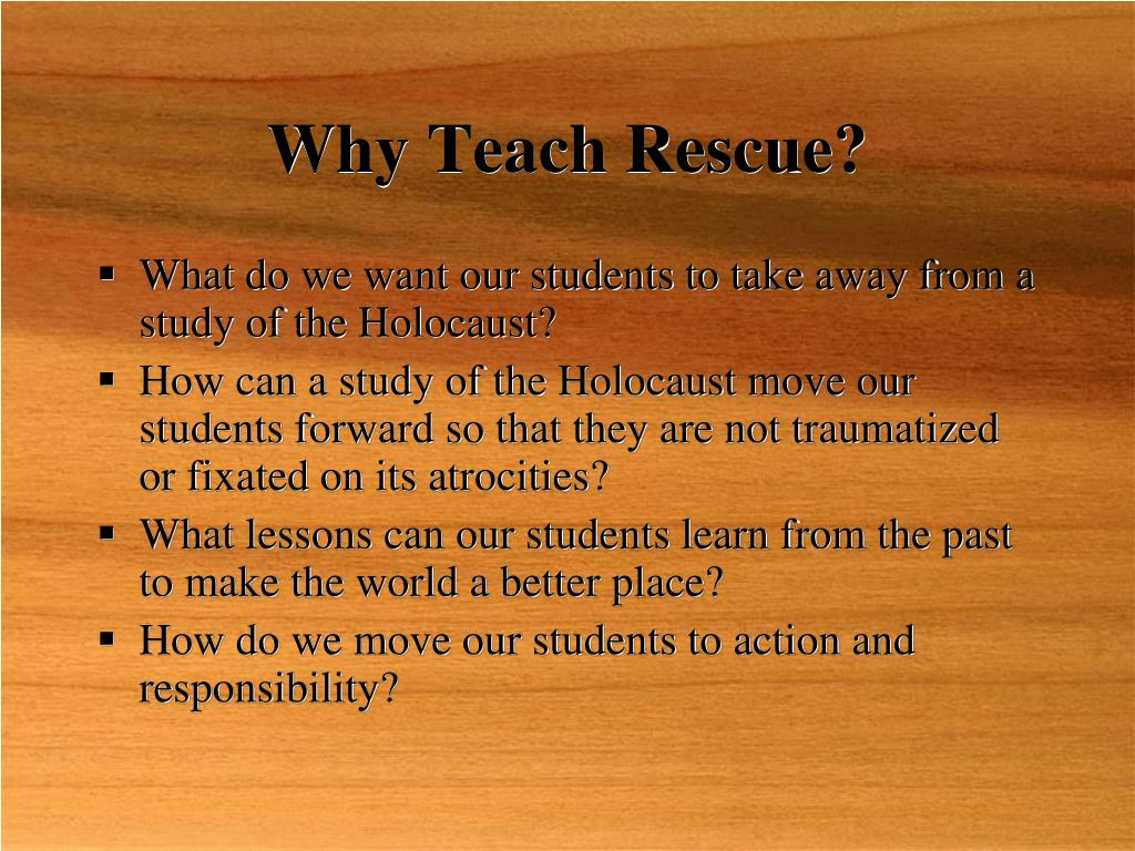 Why Teach Rescue?