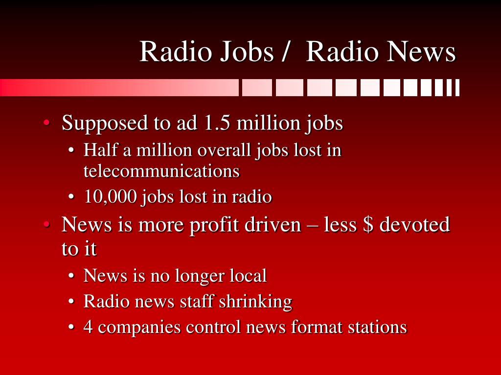 Radio Jobs /  Radio News
