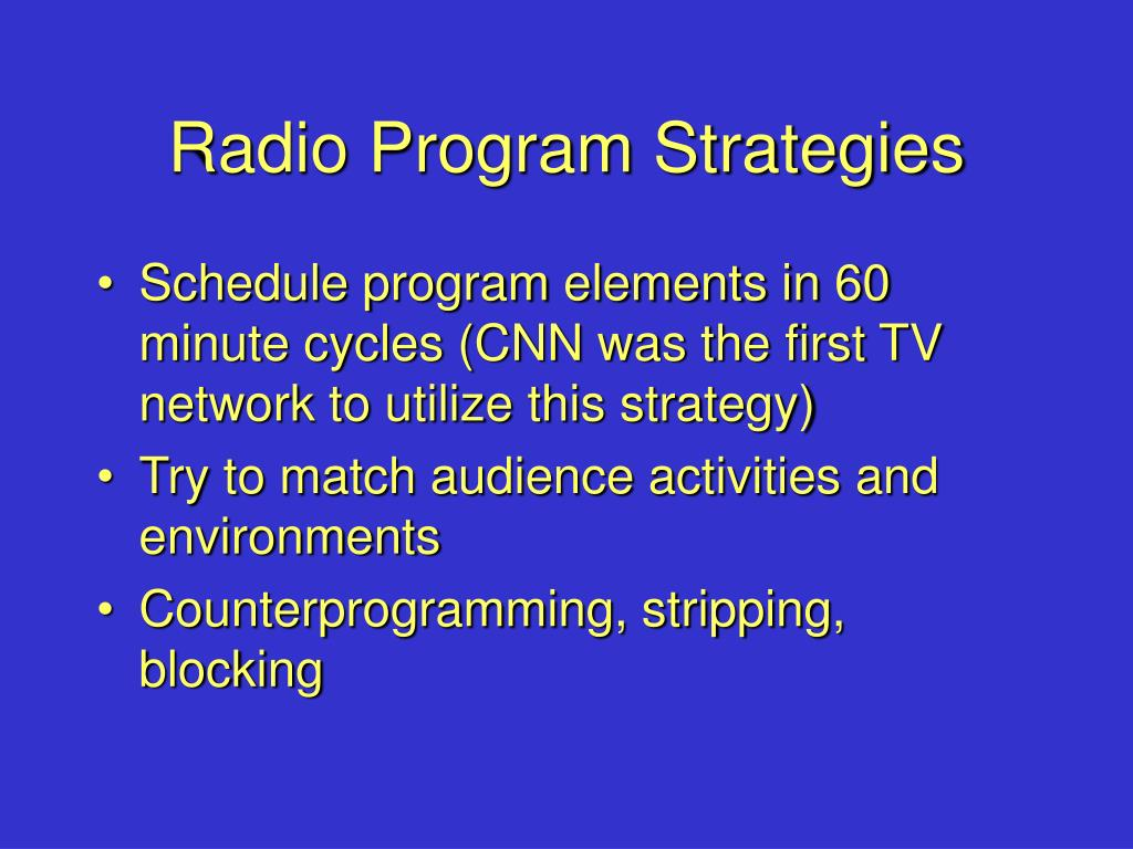 Radio Program Strategies
