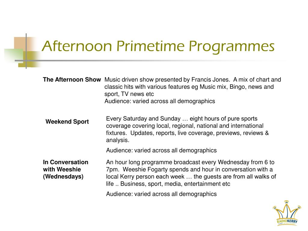 Afternoon Primetime Programmes