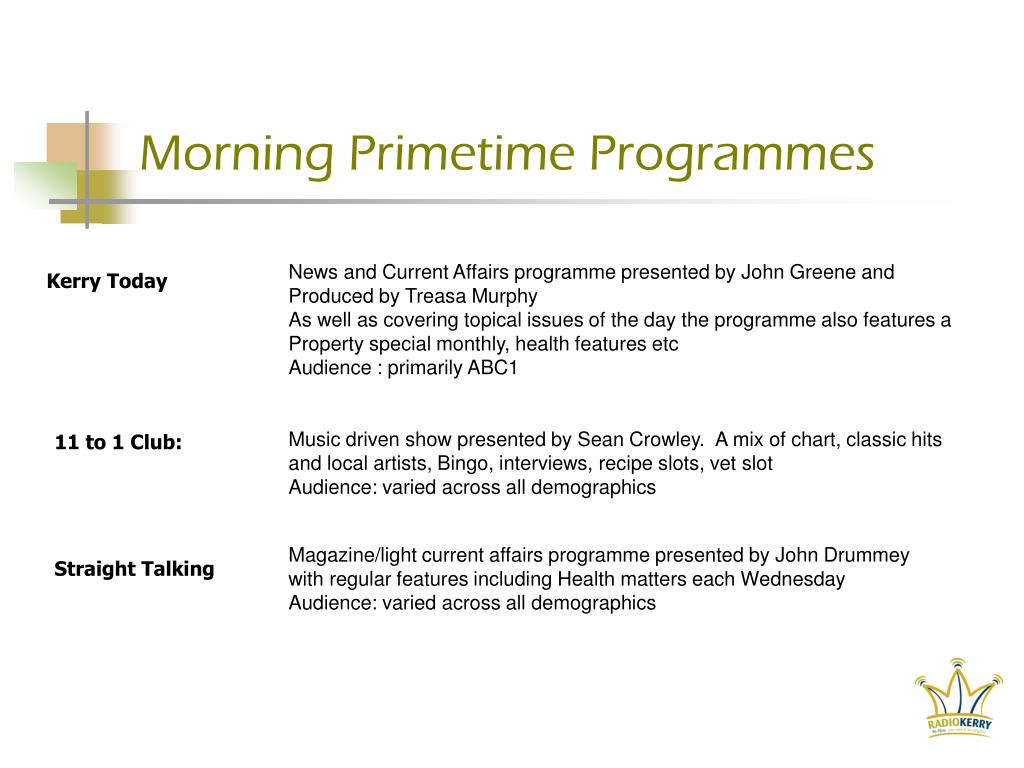 Morning Primetime Programmes