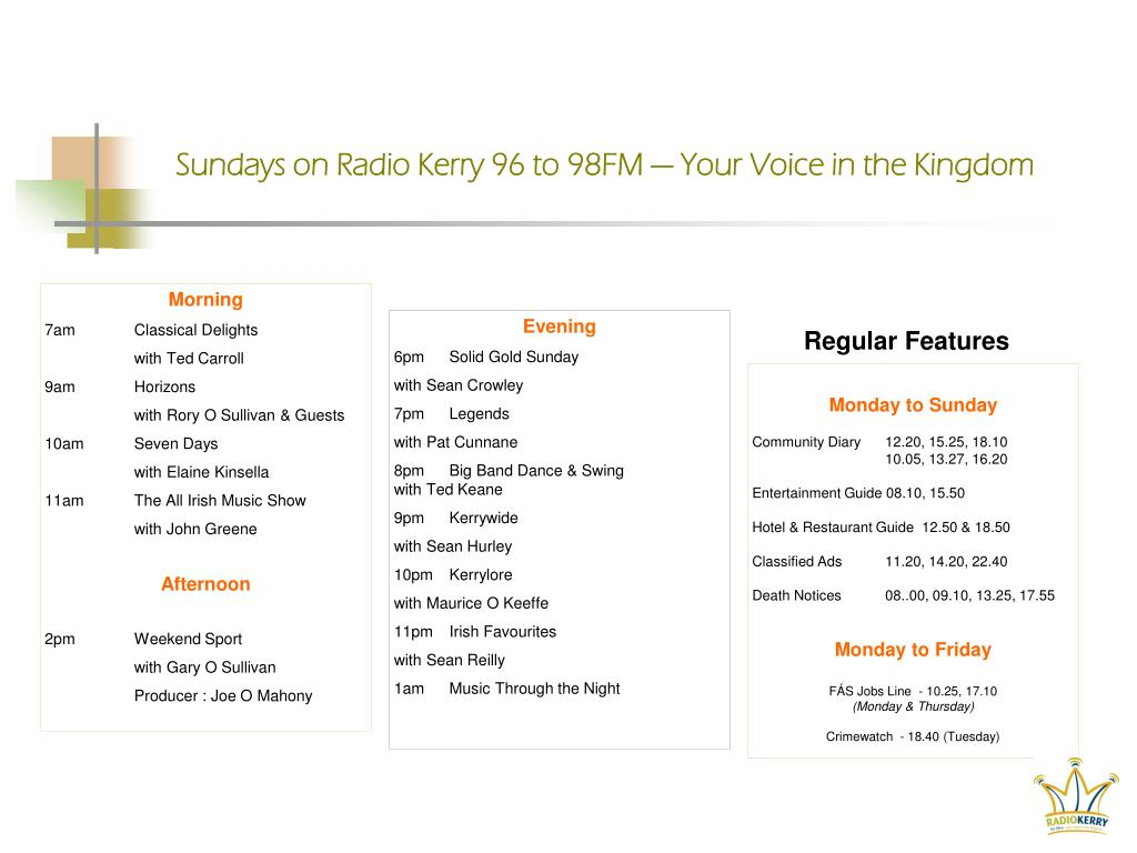 Sundays on Radio Kerry 96 to 98FM — Your Voice in the Kingdom