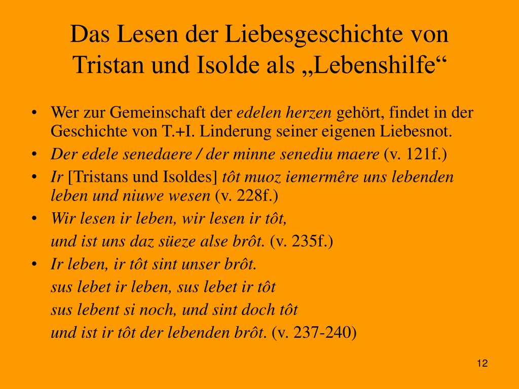 """Das Lesen der Liebesgeschichte von Tristan und Isolde als """"Lebenshilfe"""""""