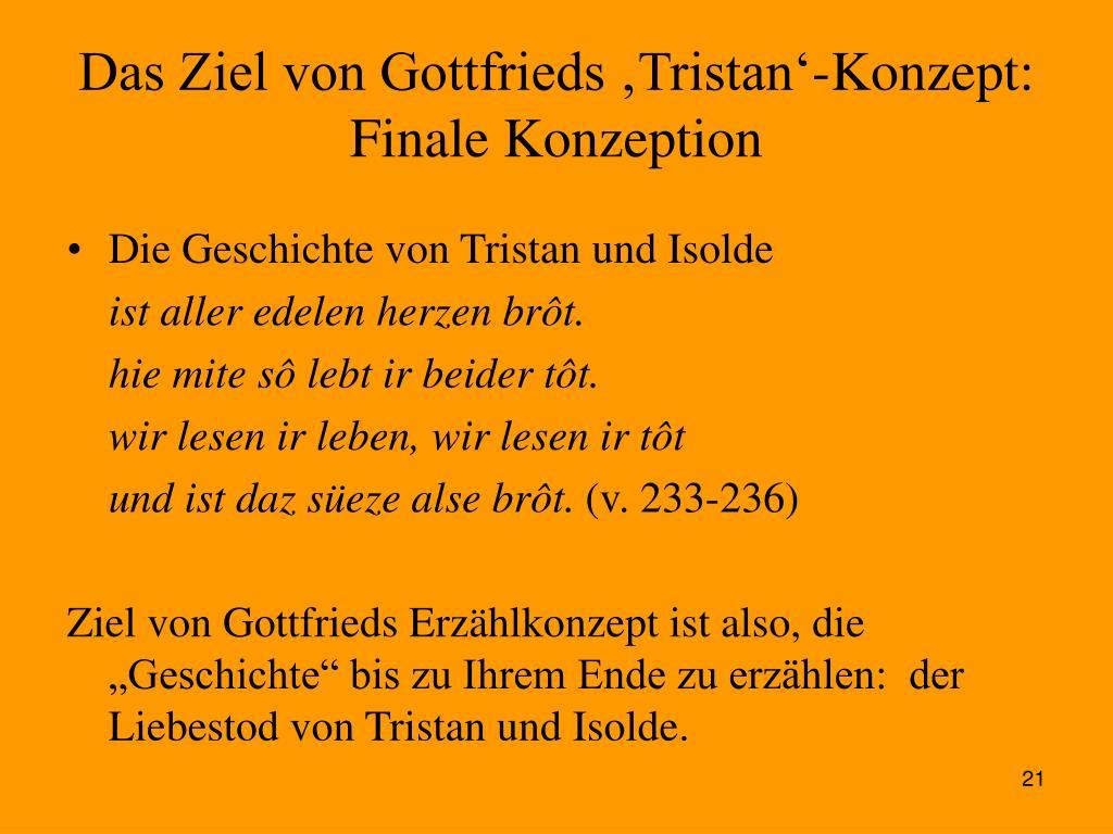 Das Ziel von Gottfrieds 'Tristan'-Konzept: